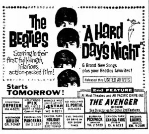 """A Hard Day's Night"" 4 Star Theatre ad, Van Nuys Valley News, August 11, 1964."