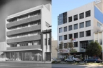 Although they may not appear particularly exceptional at first glance, both the building and original photograph are linked to several of the most important figures in 20th century Modernism. The 5-story commercial building at 5657 Wilshire Boulevard was built in 1949 by the Marfay Development Co., and designed by the firm of Walter Wurdeman and Welton Becket, who also moved their firm's offices into the top floor. Welton Becket & Associates kept its Los Angeles office here through the end of the 1950s, when their space was taken up by William L. Pereira & Associates. Eventually, Pereira's firm occupied the entire building, where it remained until its founder's death in 1985. It was likely at that point that the original International Style facade was torn down for its Postmodern replacement.  The original photograph was taken in 1955 by the late Julius Shulman, perhaps the most well-known and influential architectural photographer of the last century. Shulman and Becket were close both professionally and personally; many of Becket's early works in Southern California were documented extensively in Shulman's photography. (Caption and photographs courtesy of urban diachrony: http://urbandiachrony.wordpress.com/2010/12/14/5657-wilshire-boulevard-1955-2010/.)