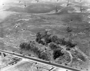 Aerial view of La Brea tar pits and oil derricks, circa 1924. Seen from the air you have to look carefully at the foreground (across the road from the buildings) to see the pits among the trees, along with a building in the trees. A few pits can be seen in open area. At the top of the picture are a few of the derricks from the oil field. (Security Pacific National Bank Collection; Los Angeles Public Library)
