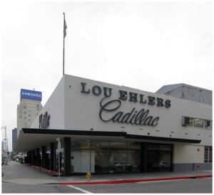 Another view of Lou Ehler's Cadillac, circa 2000. Opened in 1955, the Lou Ehlers showroom was designed by the noted firm of Stiles Clements Associate Architects. It was demolished in 2008 to make way for a BMW automobile dealership.