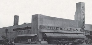 The Atlantic and Pacific Food Palace on the north side of Wilshire Boulevard between Cochran and Cloverdale Avenues, circa 1937. It later became the Roman Food Market and the original structure is now incorporated into a Staples office supply store.