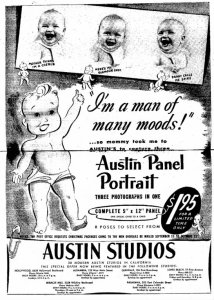 Austin Studios ad, Long Beach Independent, July 16, 1945.