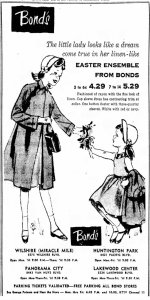 Bond Clothing ad, Van Nuys Valley News, April 11, 1957.