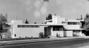 Exterior view of J. J. Buck's residence at 8th and South Genesee Avenue. The home was built in 1934. Architect: Rudolph M. Schindler. Photograph circa 1930s. (Photographer: W. P. Woodcock; Los Angeles Public Library)