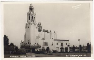The Carthay Circle Theatre was one of the most famous movie palaces of Hollywood's Golden Age. It opened at 6316 San Vicente Boulevard in 1926. The exterior design was in the Spanish Colonial Revival style, with whitewashed concrete trimmed in blue, with a high bell tower and neon sign that could be seen for miles. The architects were Carleton Winslow and Dwight Gibbs. The theater was demolished in 1969.