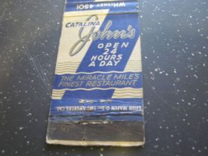 Catalina John's Restaurant matchbook cover (back).