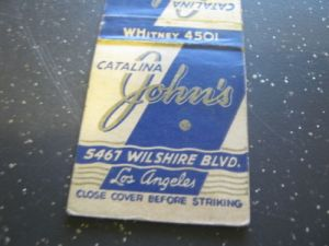 Catalina John's Restaurant matchbook cover (front).
