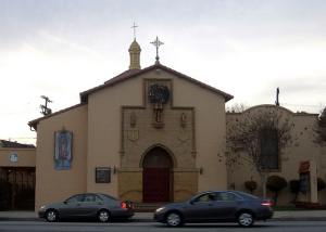 Contemporary view of he Cathedral Chapel of St. Vibiana, located at 923 S. La Brea Avenue. It was designed by architect Ross Montgomery and built in 1927. (Larchmont Chronicle)