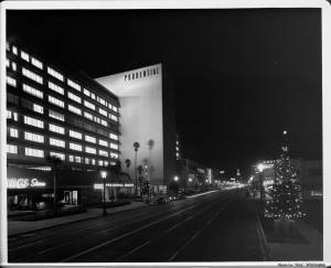 Prudential Square (now known as SAG-AFTRA Square) with Christmas lights, circa 1950.