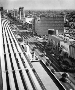 View of Wilshire Boulevard looking east from Prudential Square (now SAG-AFTRA Square) at Curson and Wilshire, circa 1950. (Security Pacific National Bank Collection; Los Angeles Public Library)
