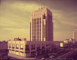 Color photograph of the Dominguez Wilshire Building, circa 1957. (Rancho San Pedro Collection; California State University Dominguez Hills Digital Collections)