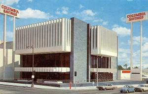 Postcard view of Columbia Savings building on southeast corner of LaBrea Avenue and Wilshire Boulevard, circa 1965. Designed by architect Irving Shapiro, it was completed in 1965 and demolished in 2010 to make way for a 478-unit mixed use project. (Los Angeles Conservancy)