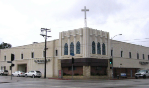 Contemporary view of former Fox La Brea Theatre at 9th Street and La Brea Avenue. It now houses a Korean church.