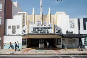 Contemporary view of the El Rey Theatre. The popular music venue is managed by Golden Voice, a division of AEG.