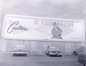 Couler's parking lot billboard sign, circa 1950, (Noirish Los Angeles; Skyscraperpage.com)