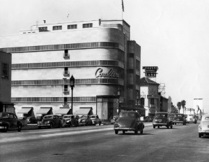 Coulter's Department Store, circa 1938. View looking west on Wilshire Boulevard. The Coulter Building is seen on the northeast corner of Hauser and Wilshire. This building was built in 1938 and designed by architect Stiles O. Clements. Citizens National Trust & Savings Bank may also be seen on the right. (Security Pacific National Bank Collection; Los Angeles Public Library.)
