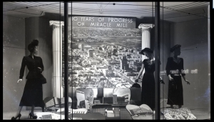 "Coulter's department store display window, photograph dated October 7, 1948. The display celebrates ""10 Years of Progress on Miracle."" (eBay)"