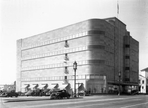 Designed by Stiles O. Clements, this classic Streamline Moderne building was built in 1938 by Coulter's Dry Goods. The store changed hands in the 1970s and became the Broadway Department Store. After the building was demolished in 1980 the site remained vacant until the late-2000s, when a 5-story mixed-use structure was built. It is the most significant art deco structure ever to be demolished in the Miracle Mile