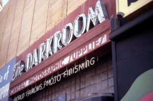 Darkroom Camera Shop Sign, 1978. (Marlene Laskey Collection; Los Angeles Public Library)