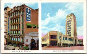 Postcard view (circa 1930) depicting Desmond's original downtown store and their new branch at the Wilshire Tower, circa 1930s. Desmond's was the first downtown department store to move to the Miracle MIle.