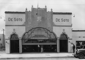 Exterior view of H.R. Gillingham Co., a DeSoto dealership located at 611 South La Brea Ave. Building was designed by Morgan, Walls & Clements, and built circa 1927. Photo dated: July 1929. It is now the location of Diamond Foam and Fabric. (Security Pacific National Bank Collection; Los Angeles Public Library)