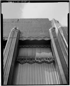 Detail of window on south facace, Security First National Bank, circa 1972. (Library of Congress)