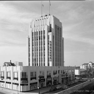 Dominguez Wilshire Building, circa 1955. (Californina State University Dominguez Hills Digital Collections.)
