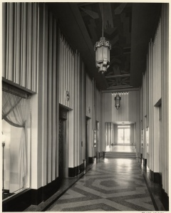 Dominguez Wilshire building lobby, circa 1931. (Mott-Merge Collection; California State Library)