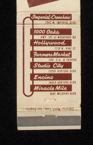 Dupar's matchbook cover (back).