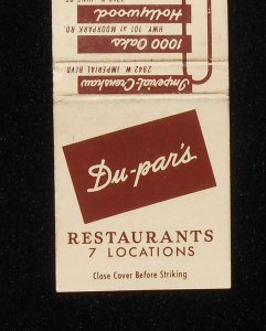 Dupar's matchbook cover (front).
