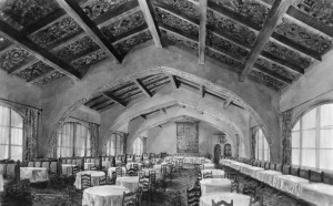 Interior Dyas-Carlton Cafe, 1928. Built in 1925, the Dyas-Carlton Cafe was located on the northwest corner of Wilshire and La Brea. Designed in a Spanish architectural style by architects and builders Gable and Wyant, the restaurant seated 250 people. Photo dated: Mar. 31, 1928. (Herald-Examiner Colleciton; Los Angeles Public Library)