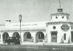 The Dyas-Carleton Café, circa 1925. The restaurant featured a large dining room accommodating 250 patrons and an adjoining coffee shop with booths and a U-shaped counter. It was designed by the architect team of George Elmore Gable and C. Stanley Wyant, who were well known for their work in the Spanish Colonial Revival style. In 1929 they designed Hanger No. 1, the first structure built at Mines Field airport – now known as LAX.