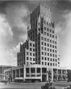 E. Clem Wilson Building, circa 1930. An Owl Drug Store operates on the street level. [Seaver Center Collection; Los Angeles Museum of Natural History]