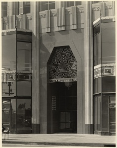 E. Clem Wilson building entrance, 5217 Wilshire Boulevard,  circa 1930. (Mott-Merge Collection; California State Library)