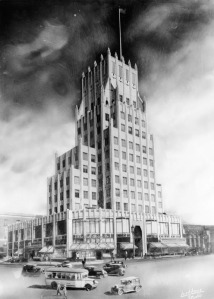 Exterior view, as illustrated in an architectural drawing, of the E. Clem Wilson Building in July 1930, located at the northeast corner of La Brea and Wilshire. (Ralph Morris Collection; Los Angeles Public Library)