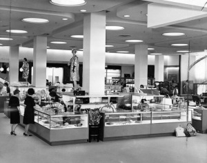 Seibu Department Store interior. 1962. Presenting a different array of countless items, the $6 million Seibu of Los Angeles, Japanese department store, opened its doors on March 14, 1962, to Southland shoppers. Pacific wares are featured, including Japanese, Hong Kong, Philippines, along with standard American products. (Herald-Examiner Collection; Los Angeles Public Library)