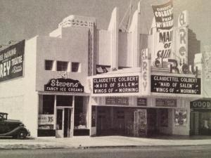 "El Rey Theatre, 1937. According to Wikipedia, ""Maid of Salem,"" starring Claudette Colbert and Fred MacMurray, tells the story of a young girl in Salem, Massachusetts who has an affair with adventurer. She is sentenced as a witch, but saved by him."