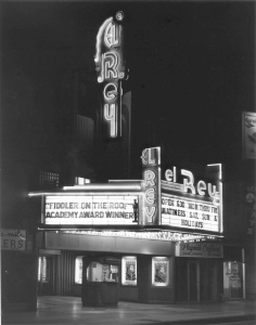 Night view of the El Rey Theatre when it was a revival house, circa late 1970s. (Photograph by Tom Zimmerman)