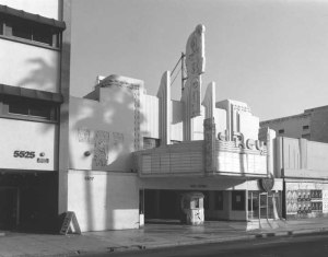 The El Rey Theatre, 5515 Wilshire Boulevard, circa 1987. Architect  Clifford A. Balch designed this art deco gem. The theatre opened in 1937 and was designated a Los Angeles Historic-Cultural Monument in 1991. Since the early 1990s it has been a popular club with live concerts, including Bob Dylan and Elvis Costello.(William Reagh, photographer; California State Library)