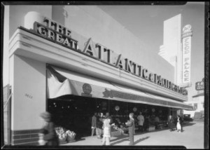 The Atlantic and Pacific Food Palace at  5413 Wilshire Boulevard; photograph dated 1935. (Dick Whittington Studio; USC Digital Library)