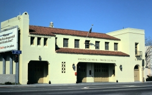 Fire Station No. 61 at 5821 W. Third Street at Cochran Avenue; photograph dated 1977. The original station was constructed in 1929 and demolished and replaced with a new fire station in 1987. (Chuck Madderom Collection; Los Angeles Fire Department Historical Archive)