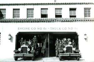 Fire Station No. 61 at 5821 West Third Street (at Cochran Avenue), photograph dated Oct. 12, 1939. (Glen Alton Collection; Los Angeles Fire Department Historical Archive)