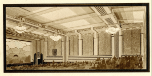 Architectural rendering of original interior of the 4 Star Theatre