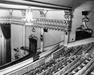 Fox Ritz Theatre auditorium balcony, 1942. Interior side wall of the auditorium, looking across balcony seating from the upper middle of the balcony. (Security Pacific National Bank Collection; Los Angeles Public Library)