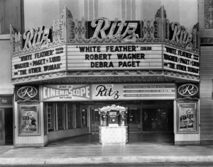 "Fox Ritz Theatre, circa 1955. According to IMDB, ""White Feather"" (1955) is the story of the peace mission from the US cavalry to the Cheyenne Indians in Wyoming during the 1870s. The mission is threatened when a civilian surveyor befriends the chief's son and falls for the chief's daughter."
