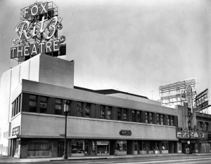 "Fox Ritz Theare on the south side of Wilshire just east of La Brea Ave. The original facade was ""updated"" following World War II."
