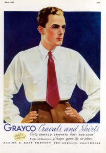 Grayco advertisement, 1935. Grayco was a popular brand of shirts and men's ties.