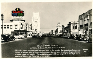 "Grayco neon display postcard, circa 1935. The first neon signs in the U.S. were installed in Los Angeles in 1923 by Packard auto dealer Earle C. Anthony. The Grayco sign seen here was touted as the largest in Los Angeles. ""Grayco"" was the brand name of men's neckware and shirts manufactured in Los Angeles by the Marion R. Gray Company."