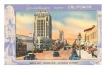 Linen finishe postcard view looking west along Wilshire Boulevard, circa 1950.