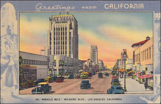 Greetings from california postcard circa 1945 miracle mile greetings from california postcard circa 1945 m4hsunfo